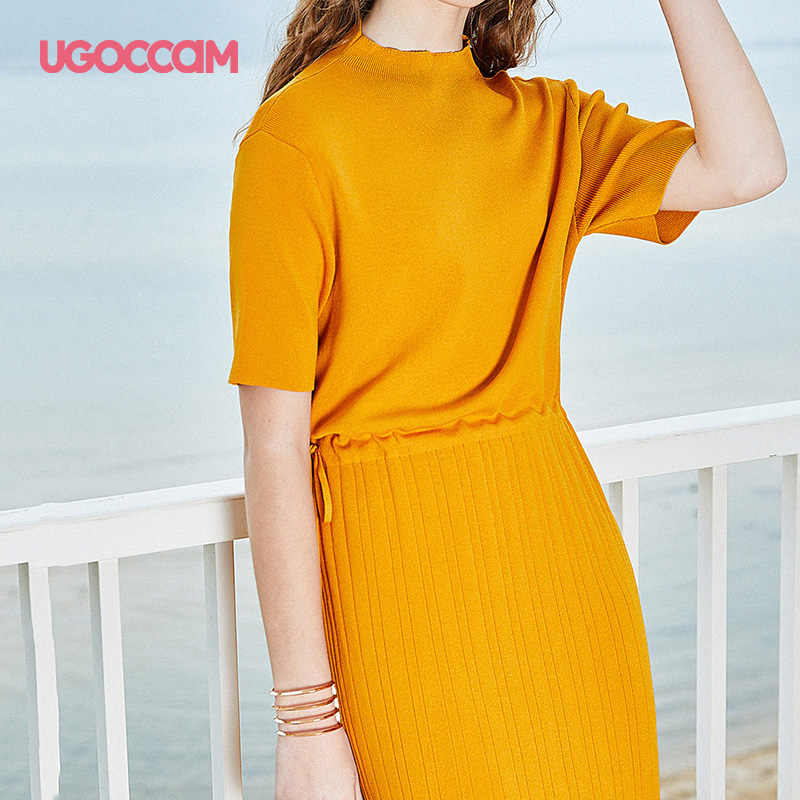 UGOCCAM платье с запахом желтый элегантный вокруг шеи Твердые короткий рукав женские прямые платья женские праздничные платья