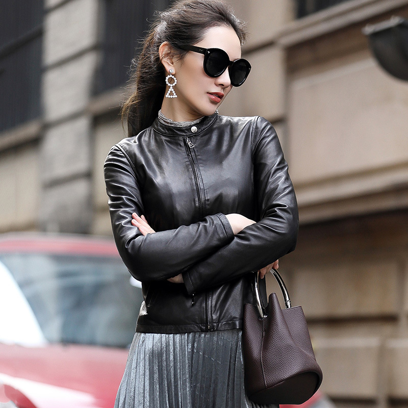 Jaqueta Feminina 100%Real Sheepskin Geniune Leather Jacket For Women Spring Autumn Plus Size Streetwear OT1824 MF184
