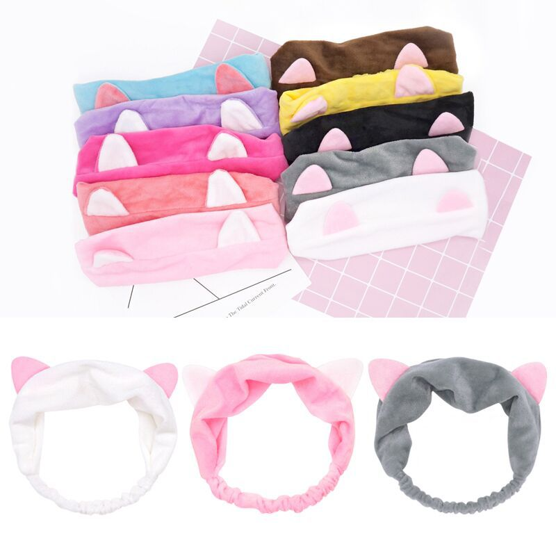 2019 New Cute Cat Ears Wash Face  Hairbands For Women Girls Turban Cute  Headbands Headwear Hair Bands Turban Hair Accessories