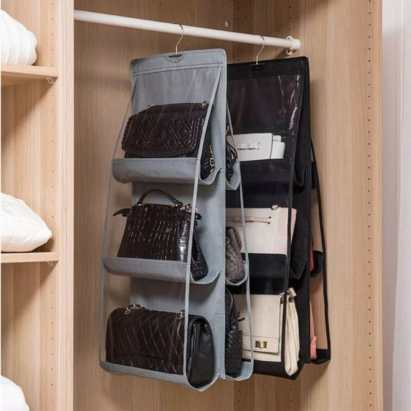 8 Pockets Purse Handbag Shoes Storage Bag Holder Closet Organizer Rack Hook Hanger Set