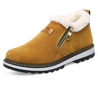 YeddaMavis Boots Brown Warm Plus Velvet Snow Boots Winter Boots Men Ankle Boots New Wild Side Zipper Men Shoes Zapatos De Hombre