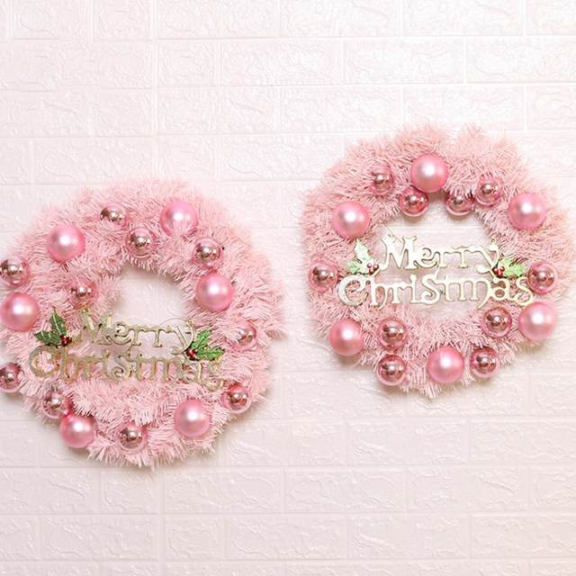 30/40cm Christmas Decoration Pink Christmas Wreath Rattan Ring Shopping Mall Window Scene Ornaments Artificial Christmas Wreath 21
