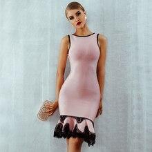 Adyce 2020 נשים קיץ תחבושת שמלת Vestido ורוד תחרה עד ללא משענת בת ים O צוואר טנק שמלת מיני סלבריטאים ערב המפלגה שמלה