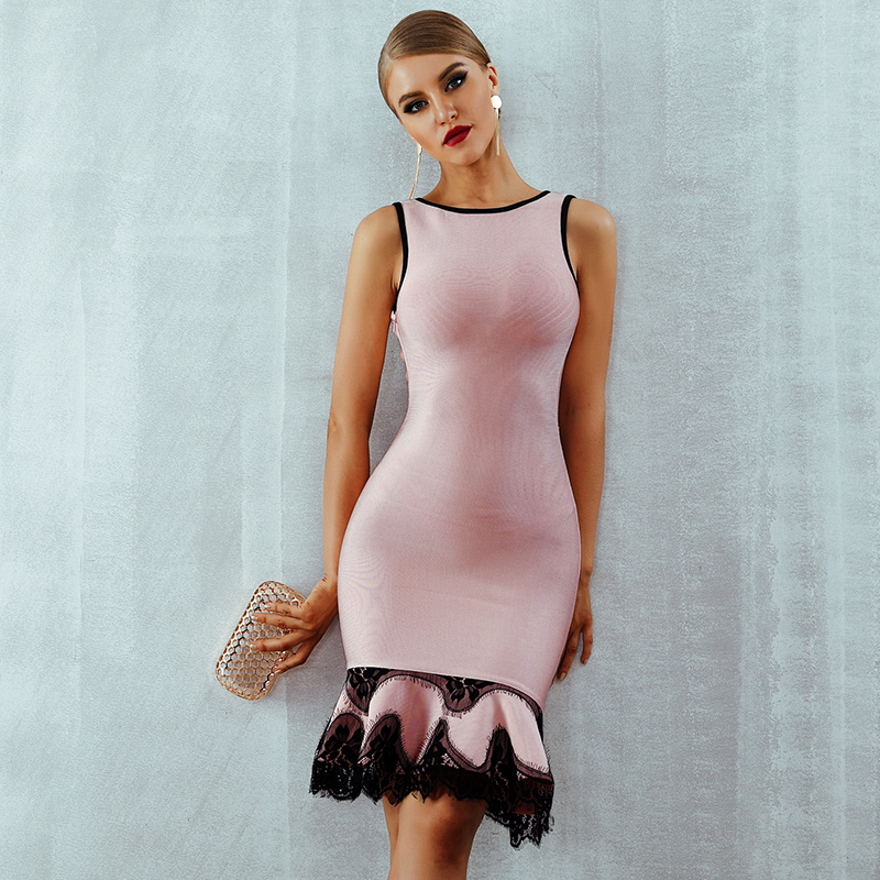 Adyce 2020 Women Summer Bandage Dress Vestido Pink Lace Up Backless Mermaid O-Neck Tank Dress Mini Celebrity Evening Party Dress