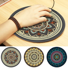 Vonets Bohemian Vintage Bulat Komputer 3D Karpet Bantalan Mouse Mousepad Anti Slip Untuk Home Office PC Gaming Lol Overwatch cs Pergi(China)
