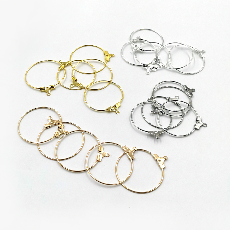 30 Pcs/Lot Hanging Earrings Hoops With Hanger Buckle Clasp DIY Circle Earring Findings Jewelry Making Accessories