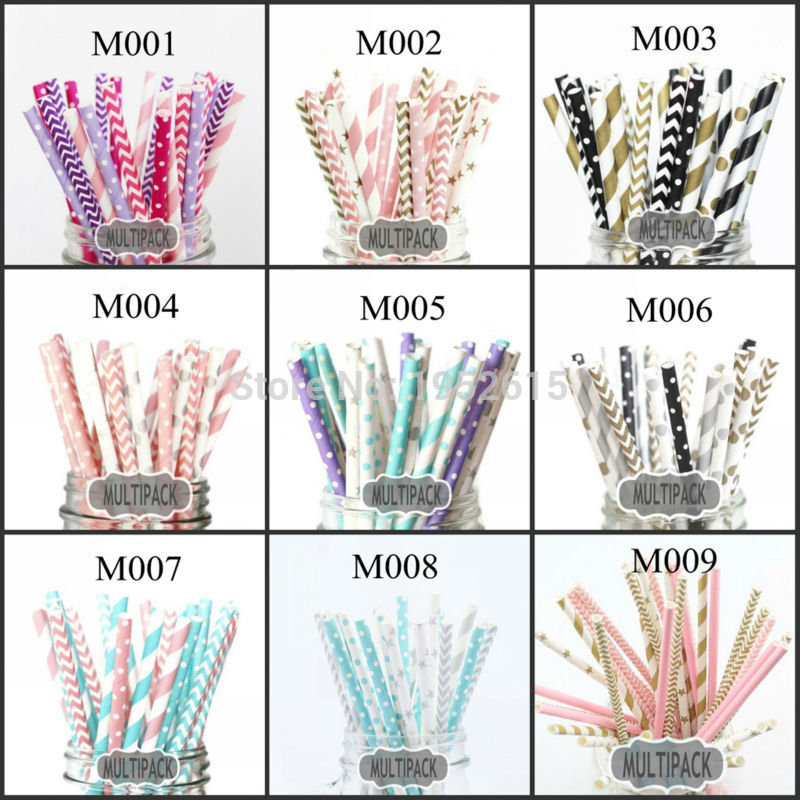 New Hot 25pcs 5styles Paper Straws For Kids Birthday Wedding Decoration Event Party Supplies Creative Mixed Colors Free Shipping in Disposable Party Tableware from Home Garden