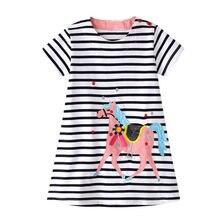 2020 crianças vestidos para meninas verão menina vestido robe fille vestido infantil menina arco-íris animal appliqued