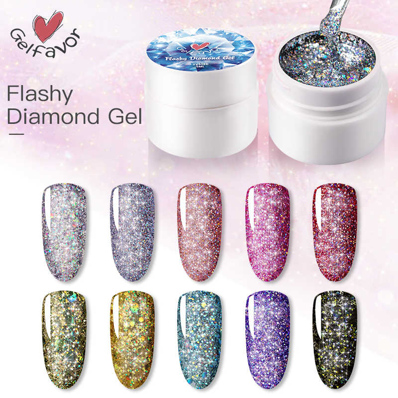 Mode Heldere Nail Lijm Brilliant Diamond Gom Nail UV Gel Nagellak Nagel Gom Soak Off Nail Art Glitter Pailletten bling TSLM1