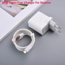 Chargeur pour Realme 6 Pro X50 Pro, 30W, adaptateur secteur EU, Super Charge 5V 6A, Charge rapide pour Realme X50m 5G, X2 Pro X3 6 6S X