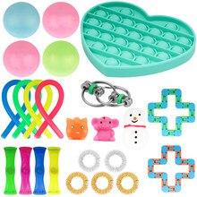 24 pacote de brinquedo sensorial fidget conjunto brinquedos alívio do estresse autismo ansiedade alívio stress pop bolha brinquedo sensorial para crianças adultos