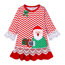 Baby Girl Clothes  2019 Kids Fashion Christmas Dress for Baby Girls Toddler Girl Dresses Lace Embroidered Holiday Striped Dress vertical striped frill embroidered tape detail dress
