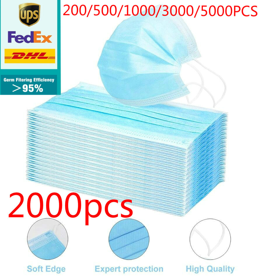 Dhl 200/500/1000/2000/5000pcs Disposable Face Mask Anti Virus Flu Safety  Masks Face Mouth Mask