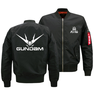 "Image 2 - 2018 החדש Oversize גברים של ז קט הצבאי אנימה Gundam לוגו מודפס מעיל צבא טקטי רוכסן עף מעיל בגדי ארה""ב גודל"