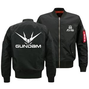 Image 2 - Куртка бомбер мужская оверсайз с принтом логотипа Gundam, армейская тактическая Летающая куртка на молнии, размер США, 2018