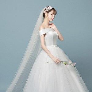 Image 4 - Robe de mariée en dentelle à col bateau 2019 nouvelle mode imprimé Floral princesse mariée de rêve hors de lépaule vestido de noiva coréen