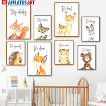 Cute Fox Bear Deer Rabbit Dream Quote Wall Art Canvas Painting Nordic Posters And Prints Wall Pictures Baby Kids Room Home Decor cartoon cute rabbit bear quote nursery wall art canvas painting nordic posters and prints wall pictures for baby kids room decor
