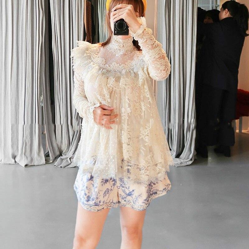 Automne/automne dentelle femmes à volants blanc femmes chemise à manches longues femme capote