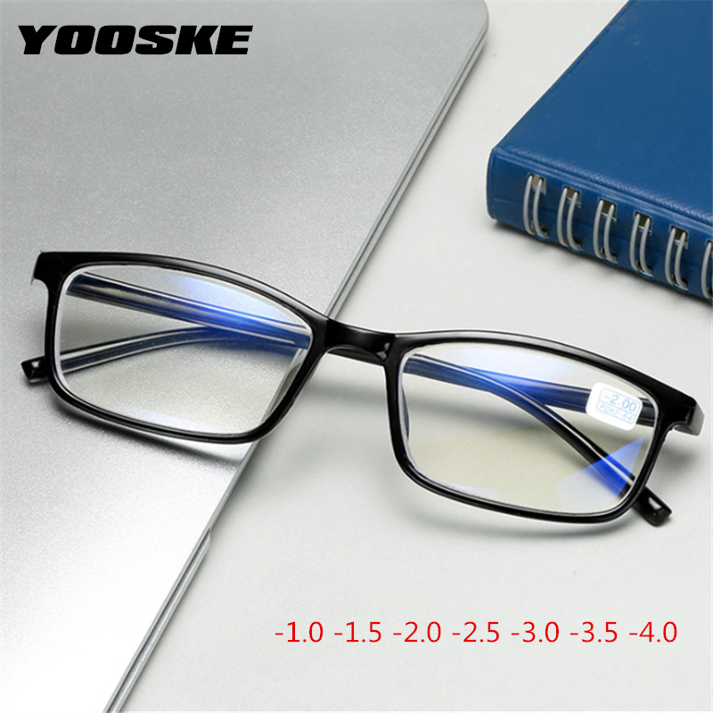YOOSKE Blue Film Finished Myopia Glasses Women Men Square Short-sighted Glasses Studen With Degree -1.0 -1.5 -2 -2.5 -3. -3.5 -4