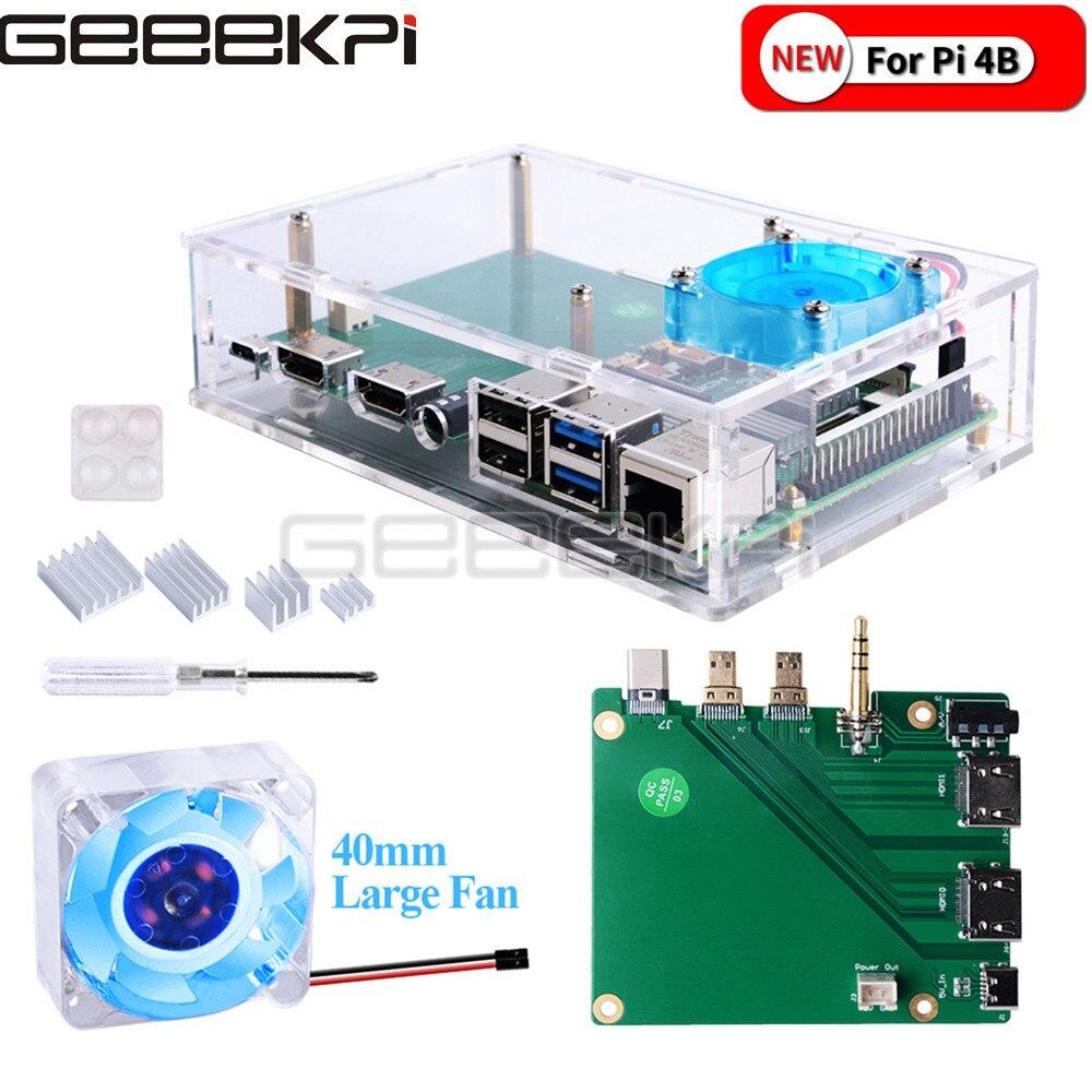 GeeekPi Acrylic Raspberry Pi set-top box kit with 4010 blue LED light fan and all aluminum heat sink For Raspberry Pi 4B