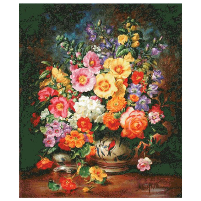 Bouquet of Summer Flowers, Counted Cross Stitch