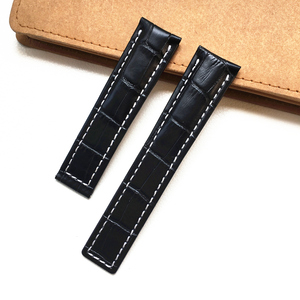 Image 5 - MERJUST 22mm 24mm Black Brown Blue Genuine Leather Watchband Wristband For Breitling Avenger Navitimer Watch Strap Wristband