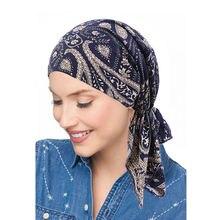 Мусульманских женщин Мягкий Эластичный Тюрбан шляпа с готовым