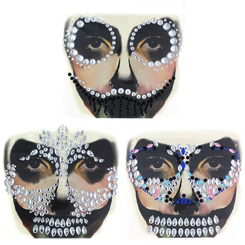 GYP 1Pc Festival Face Jewel Rhinestone With Gem Skull Teeth Sticker For Carnival Makeup Body Art Party Halloween Decor