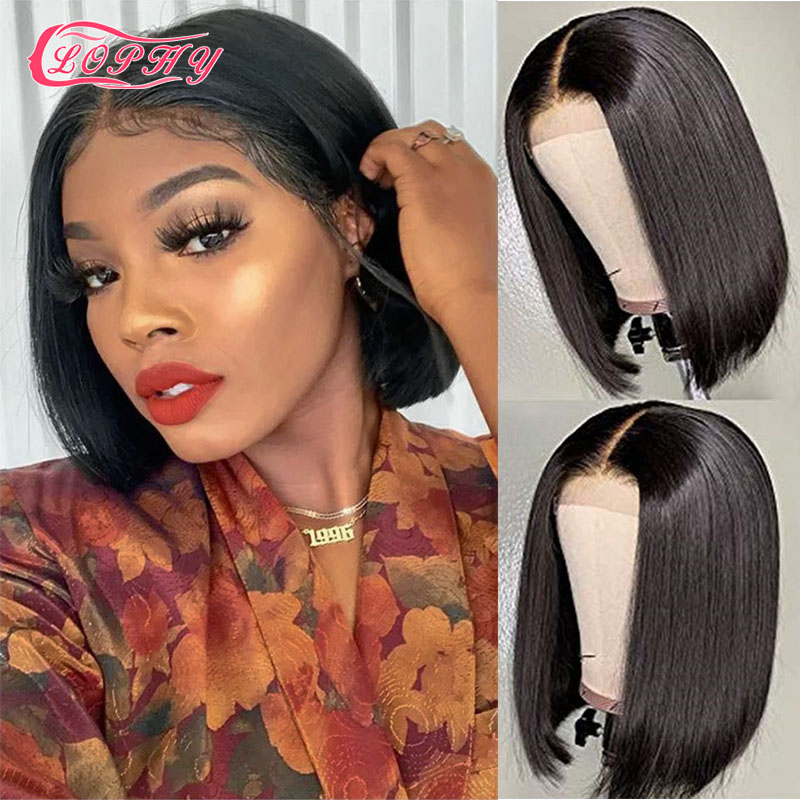 4*4 Lace Closure Short Bob Wig Human Hair Wigs Blunt Cut Bob Human Hair Wig Pre-Plucke Brazilian Straight Wig For Black Women