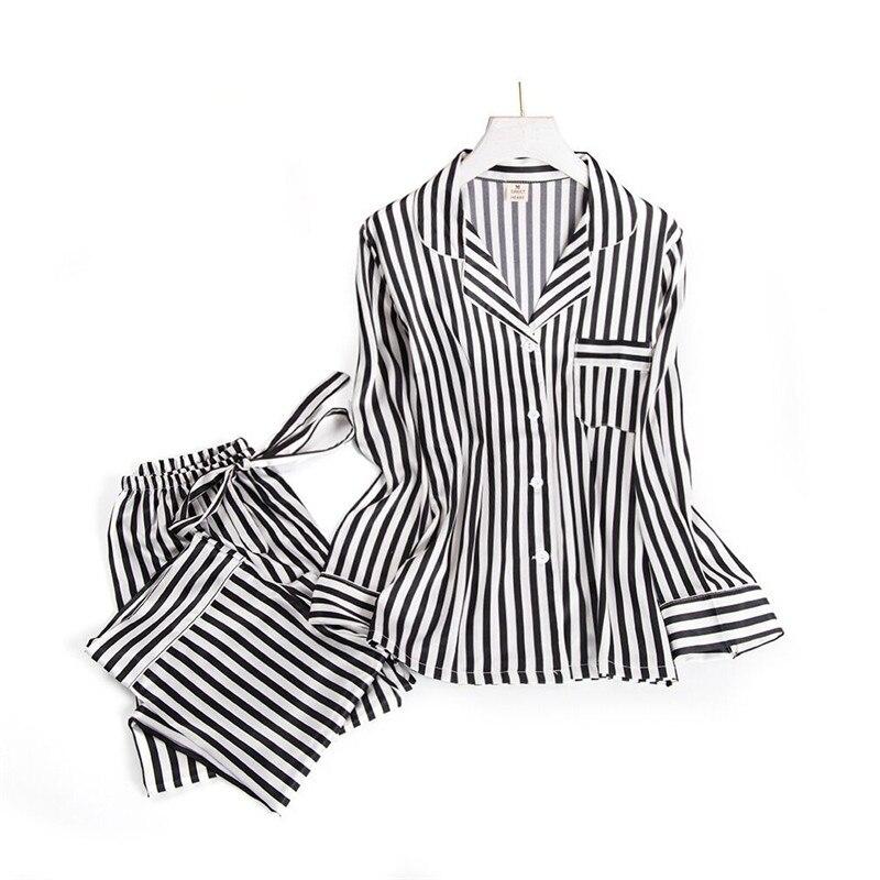 Black white stripes pajama sets women long sleeve casual sleepwear fashion women pyjamas autumn homewear hot sale 2019Pajama Sets   -