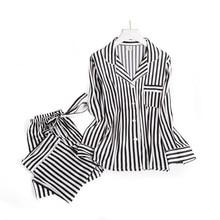 Black white stripes pajama sets women long sleeve casual sleepwear fashion women pyjamas autumn homewear hot sale 2019