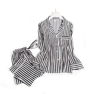 Image 1 - Black white stripes pajama sets women long sleeve casual sleepwear fashion women pyjamas autumn homewear hot sale 2019