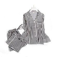 Nero strisce bianche pigiama imposta donne del manicotto lungo degli indumenti da notte casuale delle donne di modo pigiama autunno homewear vendita calda 2019