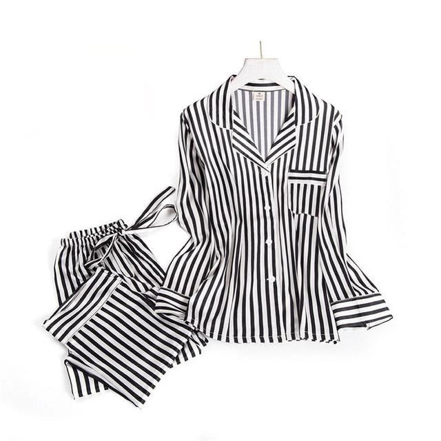 블랙 화이트 줄무늬 잠옷 세트 여성 긴 소매 캐주얼 잠옷 패션 여성 잠옷 가을 homewear 뜨거운 판매 2019