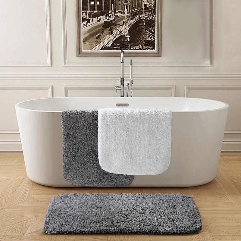 Pés tapete de banho luxo hotel casa algodão toalha tapetes grosso anti-deslizamento tapete do banheiro sólido cinza branco capacho tapetes absorventes