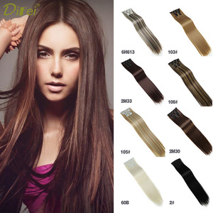DIFEI 6pcs/pack 16 clips Long Straight Synthetic Hair Extensions Clips in High Temperature Hairpiece for women