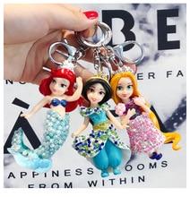 2019 Cartoon key chainAnimated crystal Mermaid Princess Car Key Chain Female Bag Woven  Childrens gift ring