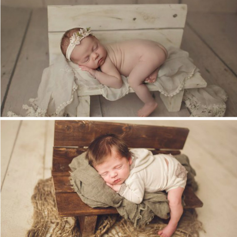 Baby Photography Props Mini Bed Wooden Bench Creative Posing Container Studio New Accessories Newborn Shoot Chair Baby Seat