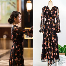 زهرة مقدما بيع فستان للنساء ديل لونا فندق نفسه IU لي جي يون في الخريف مزاجه امرأة فستان الربيع