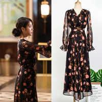 Vestido de flores en oferta para mujeres DEL LUNA Hotel mismo IU Lee Ji Eun en otoño temperamento mujer vestido primavera