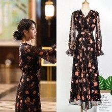 flower Advance sale Dress for women DEL LUNA Hotel same IU Lee Ji Eun in autumn temperament woman dress spring