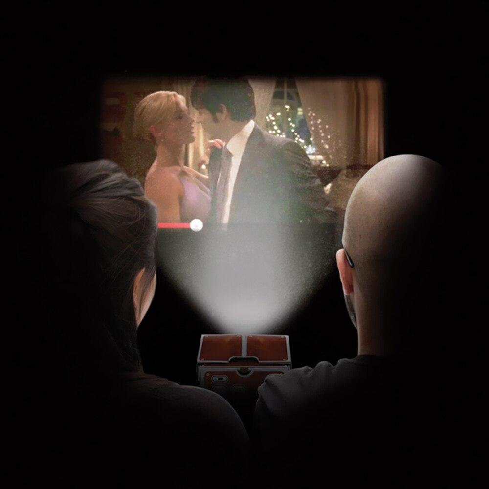 Mini projetor de telefone inteligente cinema portátil uso doméstico diy cartão projetor família entretenimento dispositivo projectivo-4