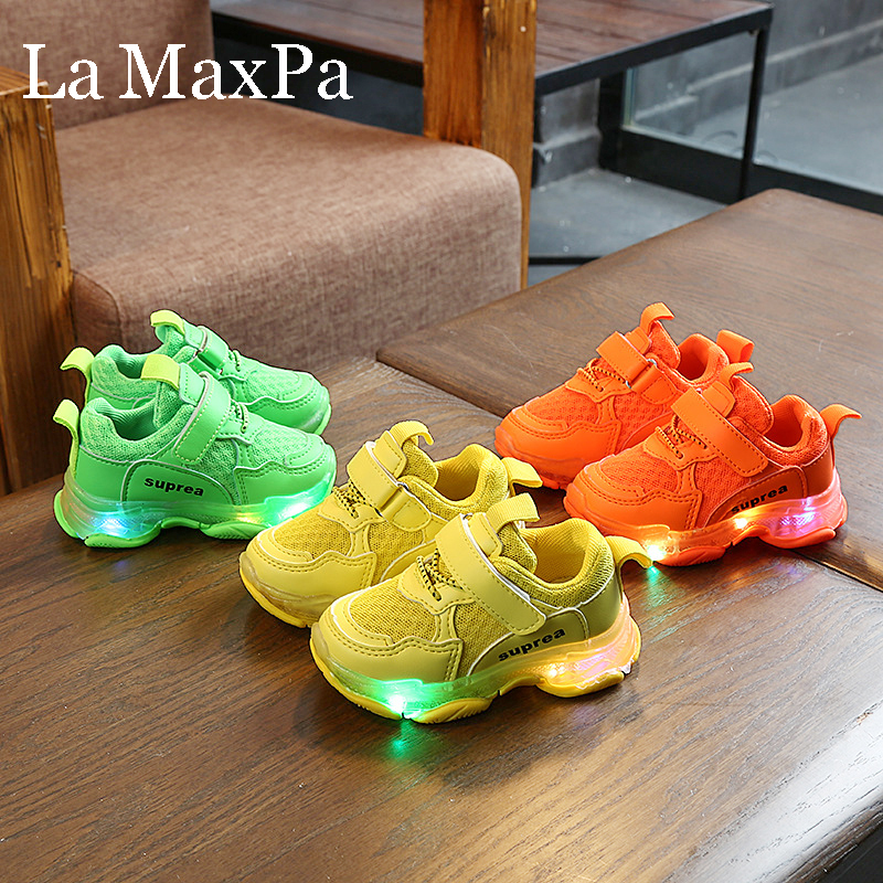 2019 Autumn Glowing Sneakers For Children Boys Light Up Shoes Hook&Loop Breathable Toddlers Shoes For Baby Girls Tenis Infantil