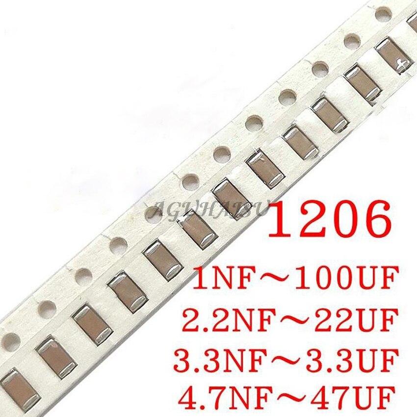 100pcs 1206 SMD 1PF-100UF X7R Error 10% 10pF 100pF 470pF 100nF 220nF 1UF 10uf 47UF 2.2UF 22UF Multilayer Ceramic Capacitor