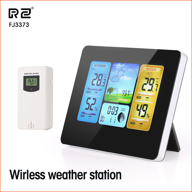 RZ Weather Station Wireless Multifunction Indoor Outdoor Sensor Thermometer Hygrometer Digital Alarm Clock Barometer Forecast