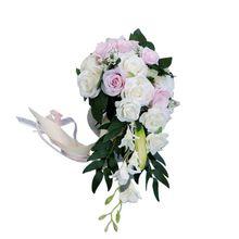 Casamento romântico nupcial cachoeira bouquet artificial rosas flores com fita