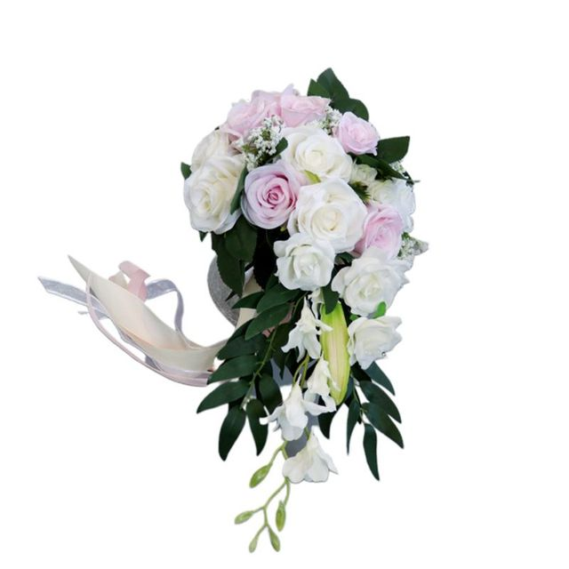 Romantic Wedding Bridal Waterfall Bouquet Artificial Rose Flowers with Ribbon