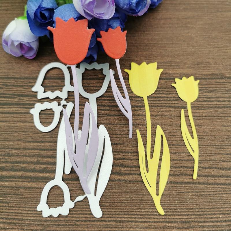 AOKEDIY 2pcs Rose Flower Metal Cutting Dies Stencils For DIY Scrapbooking Decorative Embossing Handcraft Die Cutting Template