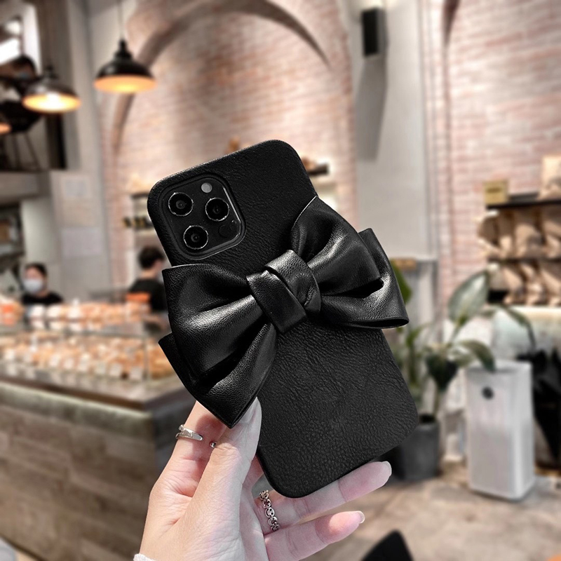 High quality leather 3D cute cartoon Bowknot Soft Phone Case For apple iPhone 7 8 Plus X XS XR MAX 11 Pro 12 MiNi SE cover coque