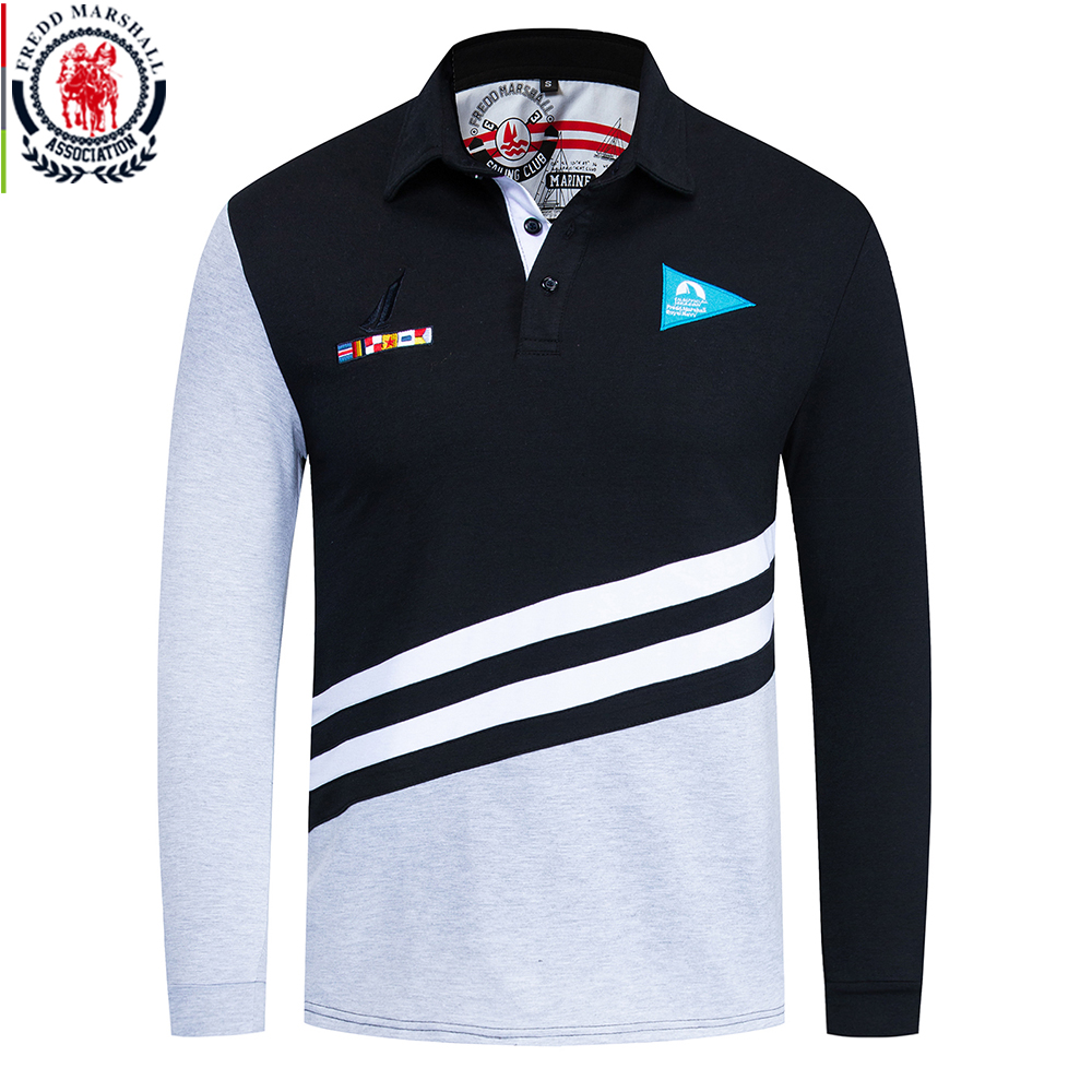 Fredd Marshall 2019 Autumn New Flag Embroidered Polo Shirt Men Patchwork Polo Shirt 100% Cotton Casual Male Polo Shirts Tops 066Polo   -